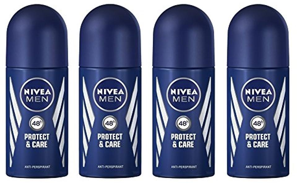 起業家不満交差点(Pack of 4) Nivea Protect & Care Anti-perspirant Deodorant Roll On for Men 4x50ml - (4パック) ニベア保護するそしてお手入れ制汗剤デオドラントロールオン...