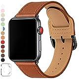 LOVLEOP バンド コンパチブル Apple Watch バンド 42mm 44mm ,トップレザー交換用ストラップ ,のために適したiWatch Series 5 Series 4 Series 3 Series 2 Series 1 (42mm 44mm, ブラウン バンド+黒 い バックル)