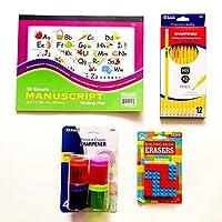 Kinder-1st Grade Writing Set: Writing Pad 12-Pack Pencils 4-Pack Pencil Sharpeners 12-Pack Building Blocks Erasers [並行輸入品]