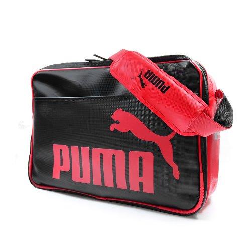 PUMA(プーマ) エナメル ショルダー バッグ Lサイズ 【27L】 ブラック/リーガルレッド 071476-01