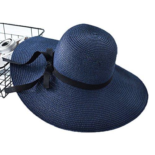 [XINXIKEJI] 麦わら帽子 レディース つば広 ストローハット ハット帽子 ビーチハット サファリハット ハット アウトドア サマーハット バイザー 帽子 uvカット 折りたたみ 帽子 56-58cm 旅行/ゴルフ/自転車 ダークブルー