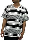 NOTA BENE(ノータベネ) 大きいサイズ メンズ Tシャツ 半袖 ボーダー Vネック ブラック LL
