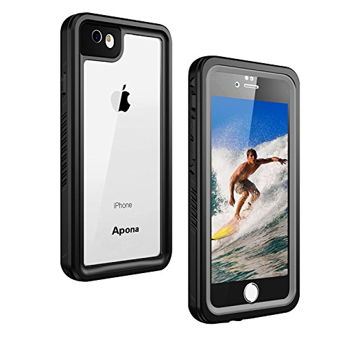 Apona iPhone 8/7 防水ケース IP68規格 完全防水 無線充電サポート 耐衝撃 衝撃吸収 防水ケース 操作便利 脱着簡単 保護タッチパネルスクリーン付き (ブラック)