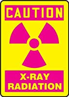 Accuform Signs MRAD703VS Adhesive Vinyl Safety Sign Legend CAUTION X-RAY RADIATION with Graphic 10 Length x 7 Width x 0.004 Thickness Magenta on Yellow [並行輸入品]