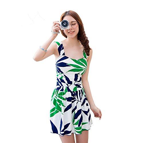 体型カバー大きいサイズリーフ柄レディース可愛い女性用ワンピース水着RM063(M,グリーン)