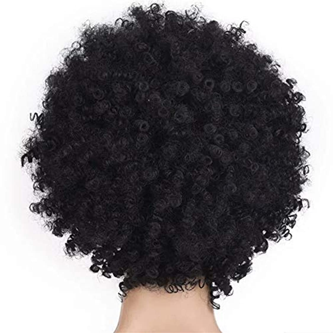 解決バンカー床を掃除するSRY-Wigファッション ファッション短い髪の女性のかつらかつらアフリカのかつら爆発的なヘッドかつら女性高温シルク化学繊維かつらヘッドギア (Color : Black)