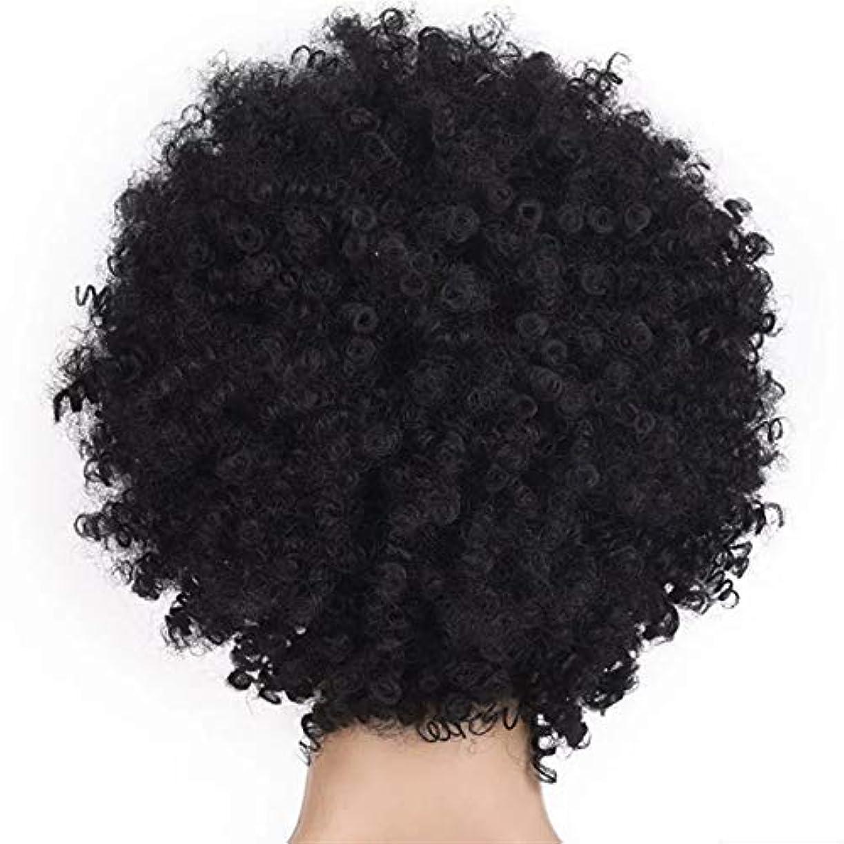 絶望確実パキスタン人SRY-Wigファッション ファッション短い髪の女性のかつらかつらアフリカのかつら爆発的なヘッドかつら女性高温シルク化学繊維かつらヘッドギア (Color : Black)