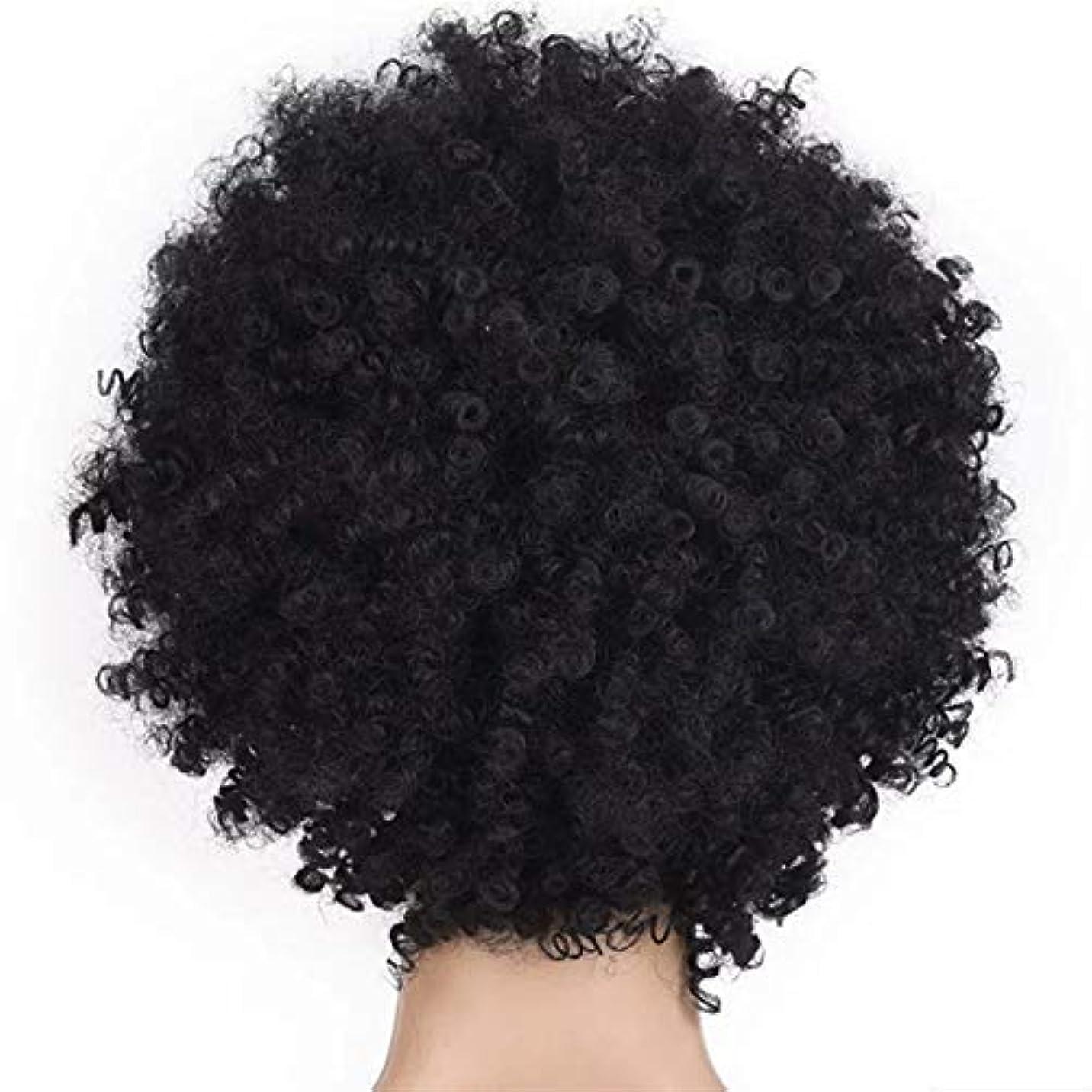 ヘッジそれシルクSRY-Wigファッション ファッション短い髪の女性のかつらかつらアフリカのかつら爆発的なヘッドかつら女性高温シルク化学繊維かつらヘッドギア (Color : Black)