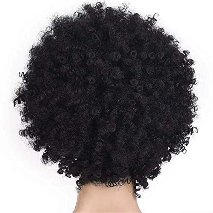 フルーツ野菜些細な出会いSRY-Wigファッション ファッション短い髪の女性のかつらかつらアフリカのかつら爆発的なヘッドかつら女性高温シルク化学繊維かつらヘッドギア (Color : Black)