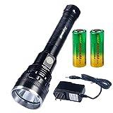 Racazing Flashlight 懐中電灯 XH-P50 LED 3000ルーメン 無段階調整、ストロボ 自転車 ライト 可変焦点と アルミニウム合金 狩猟、歩く、ナイトライド、探検、生存を求める、救助
