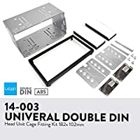 UGAR 14-003 182 x 102mm Universal Double DIN Installation Slot Metal Car Stereo Radio Mounting Frame 2DIN Universal Car Radio Adapter In-Dash Mounting Frame Complete Fitting Kit