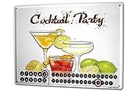 カレンダー Perpetual Calendar Alcohol Retro Cocktail party Tin Metal Magnetic Kitchen