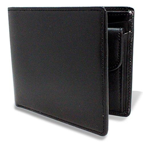 栃木レザー(とちぎレザー) 本革 国産 日本製 窓札入れ 二つ折り財布 (black)