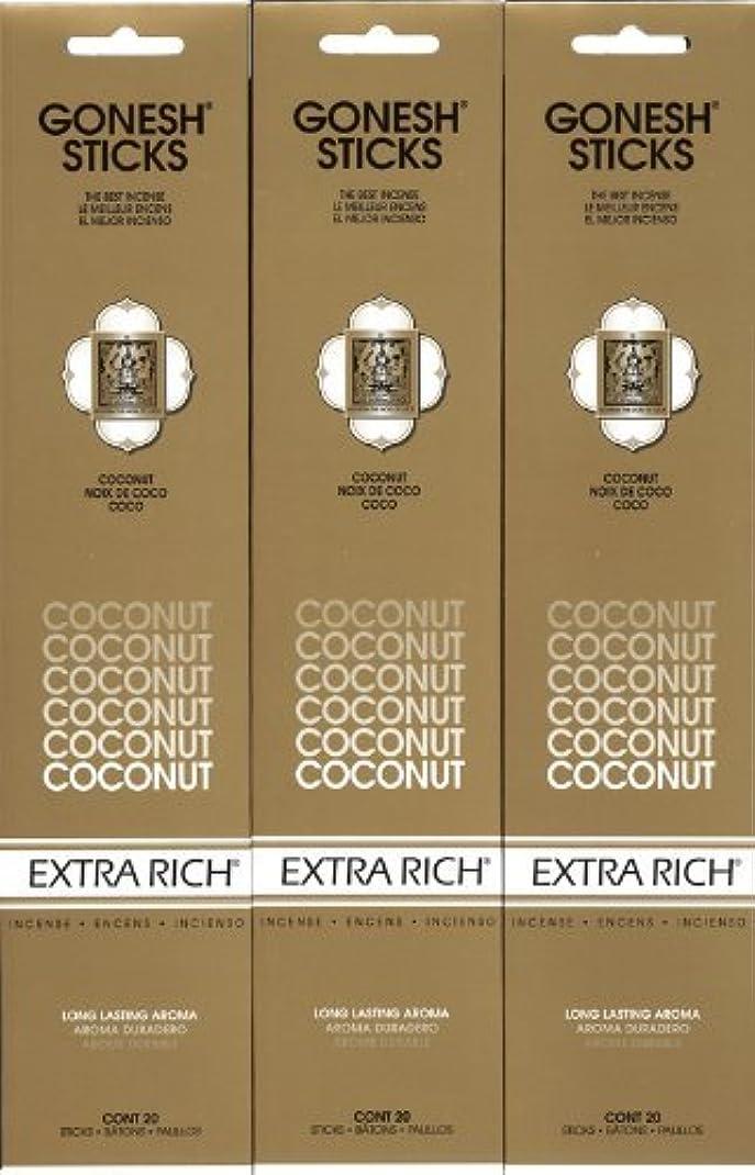 数学者フラスコ教室GONESH  COCONUT ココナッツ スティック 20本入り X 3パック (60本)