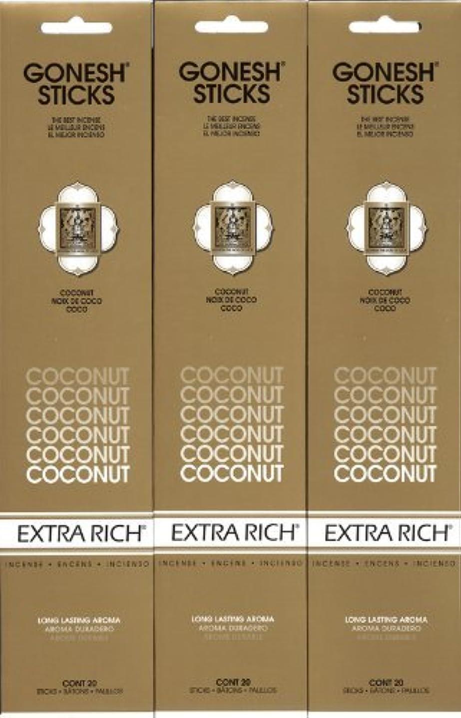 パキスタン人立証する枝GONESH  COCONUT ココナッツ スティック 20本入り X 3パック (60本)