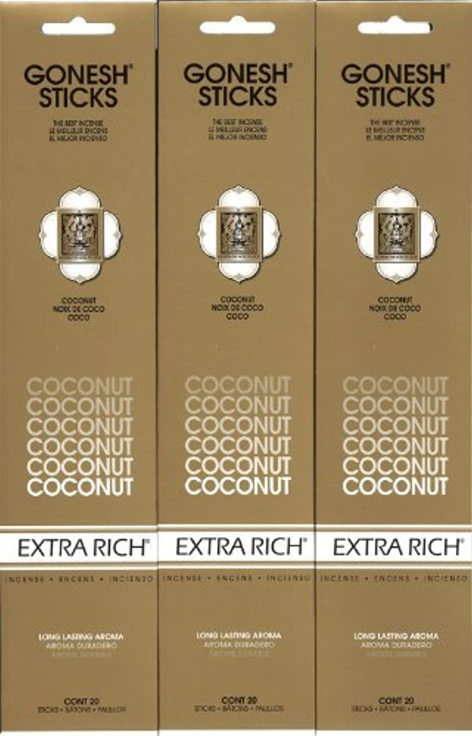 リールロボット腸GONESH  COCONUT ココナッツ スティック 20本入り X 3パック (60本)