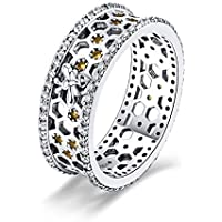 Bee & Honeycomb 925 Sterling Silver Ring Size 7