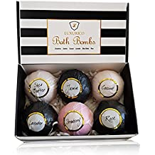 Luxurico Bath Bombs Gift Set 6 Natural Fizzies, Shea Butter & Lavender Dry Skin Moisturize, Perfect for Bubble & Spa Bath. Handmade Birthday Gift idea For Her/Him, wife, girlfriend, men, women