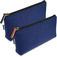 ProCase Pencil Bag Pen Case, Felt Students Stationery Pouch Zipper Bag for Pens, Pencils, Highlighters, Gel Pen, Markers and Other School Supplies -2 Pack, Navy