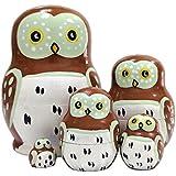 ミニ 可愛いフクロウ マトリョーシカ人形 マトリョーシカ 手業 手塗り 木製品 5個組 誕生日プレゼント 贈り物 子供のおもちゃ 飾り物 置物 期間限定