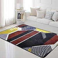 カーペット敷物幾何学的形状レジャーホームパノラマスタイルパターンベッドルームリビングルームフロアマット厚いドアミート滑り止めデザインパターンコットン (Size : 190cm*280cm, Style : R-4)