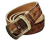 Happylifehere ベルト メンズ 牛革 ビジネスマン クラシック バックル2種類 銅+チタン合金 ハイクオリティ (115cm, 銅製)