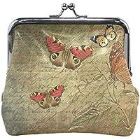 がま口 財布 口金 小銭入れ ポーチ 毛虫 蝶々 Jiemeil バッグ かわいい 高級レザー レディース プレゼント ほど良いサイズ