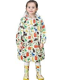 Emfay キッズ レインコート 子供用 ランドセル対応 通園 通学 雨具 男の子 女の子 収納ポーチ付き