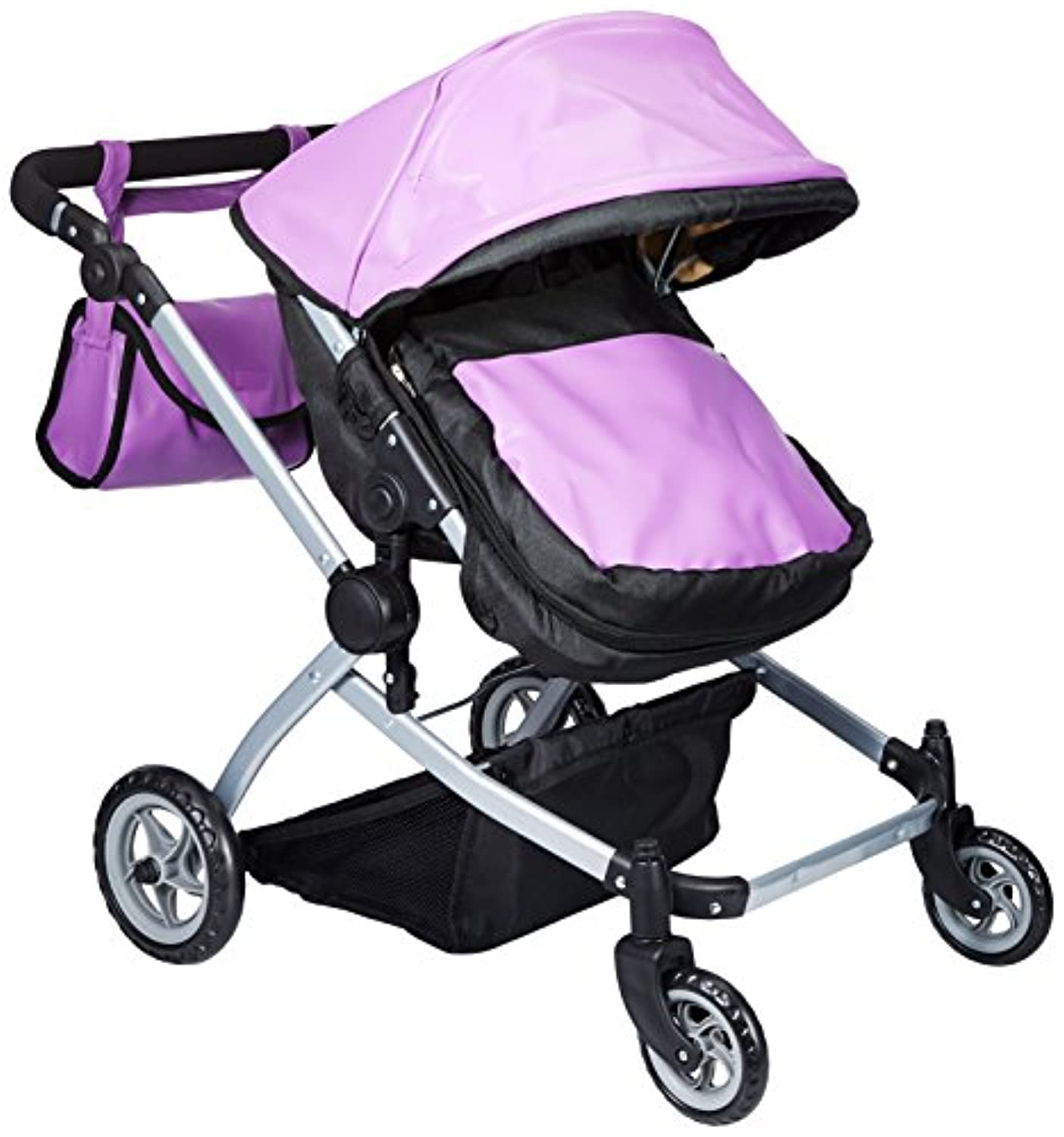 Babyboo Luxury Leather Look Twin Doll Pram/Stroller with Free Carriage (Multi Function View All Photos) - 9651A Purple