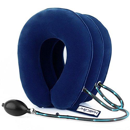 エアーネックストレッチャー 首サポーター 頸椎牽引装置 三つ叉ポンプ式 高級スエード 軽量 首こり解消 三色選択可能 ブルー