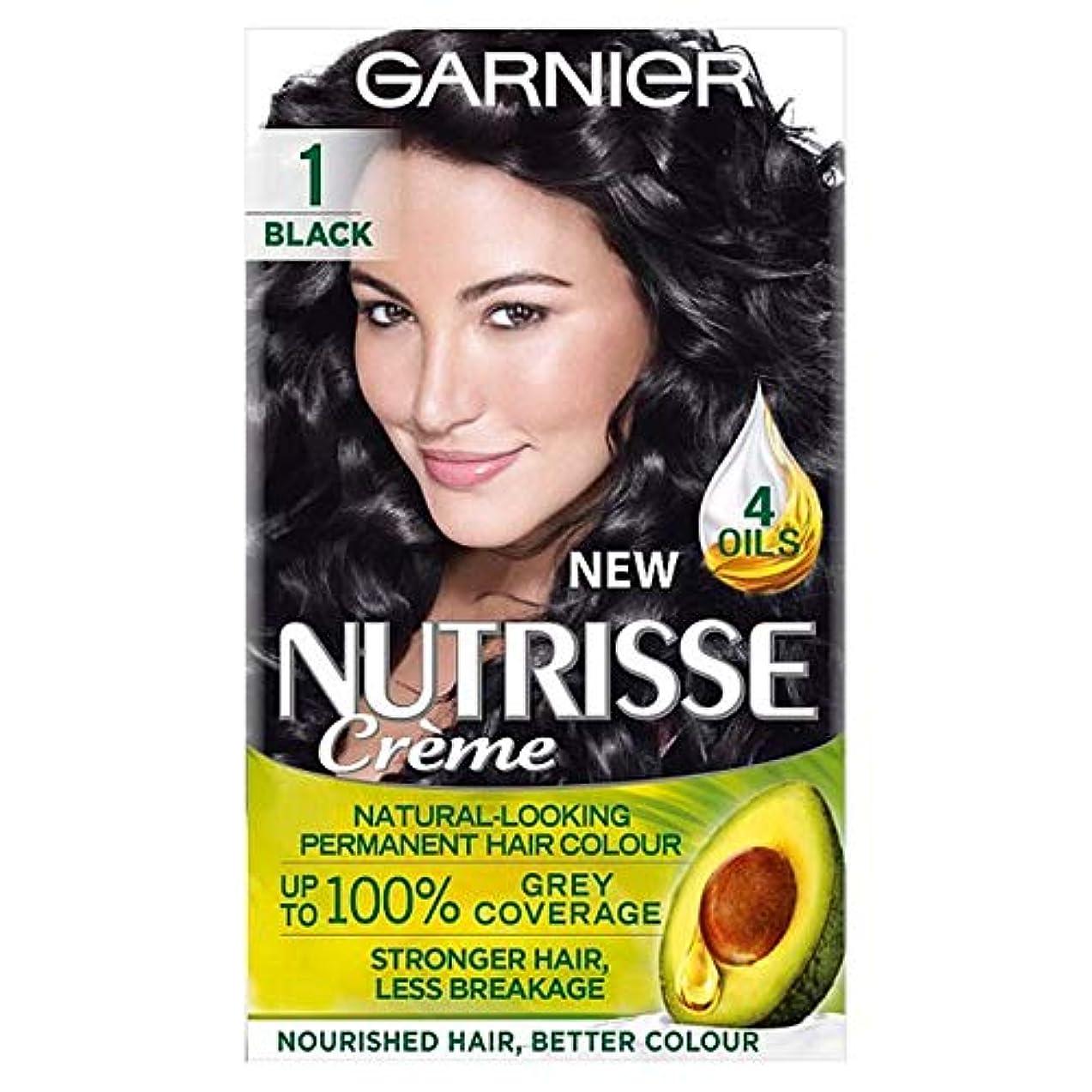 米国流出肘[Nutrisse] ガルニエNutrisse 1黒のパーマネントヘアダイ - Garnier Nutrisse 1 Black Permanent Hair Dye [並行輸入品]