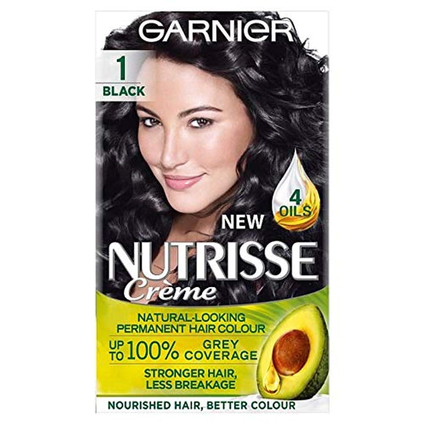 狂人平らにするかき混ぜる[Nutrisse] ガルニエNutrisse 1黒のパーマネントヘアダイ - Garnier Nutrisse 1 Black Permanent Hair Dye [並行輸入品]