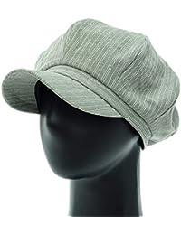 [PLIC N PLOC]EMN03.洗浄ストライプレトロメンズレディース ベレー帽 鳥打ち帽 ハンチングフラットキャップ