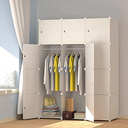 LifeDIY 収納ボックス 扉付き 収納棚 衣類収納ラック 組み立て式 ダンス おしゃれ 大容量 白い木目 12