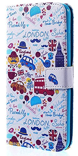【London Town】iPhone7/ iPhone8ケース カバー 手帳型 ロンドン・タウン イラスト アイフォンケース [並行輸入品]