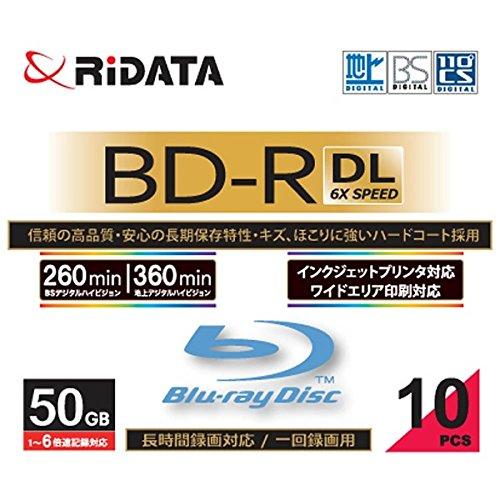 RiDATA BDR260PW6X10PSCA 一回録画用BD-R DL  ワイドプリントレーベルディスク 1〜6速 50GB 10枚スリムケース BDR260PW6X10PSCA