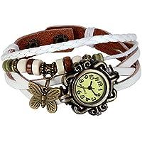 JewelryWe New Women Wristwatch Butterfly Quartz Vintage Weave Wrap Leather Strap Girl Lady Bracelet Watch