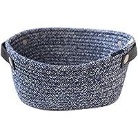 HomeMiYN 綿 収納バスケットミニ 小物入れ 雑貨 化粧品 鉢植え 軽量 持ち手付き おしゃれ 飾り 青