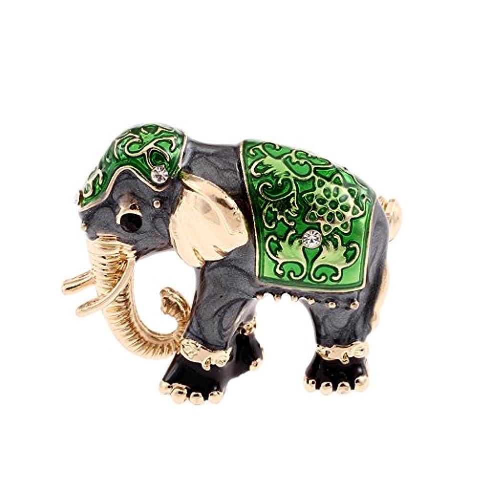 頑丈縫うカップFinance Plan 大きなエキゾチック 輝くラインストーン エナメル 象 ブローチピン 女性用スカーフ ジュエリーギフト グリーン SXITLEKK6SXWR59