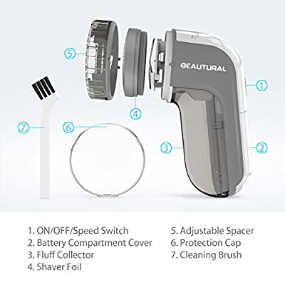 Beautural Portable Fabric Shaver and Lint Remover with 2-Speeds, Adjustable Shave Height, Dual Protection for Your Clothes, Quickly and Effectively Remove Fluff, Lint, and Bobbles