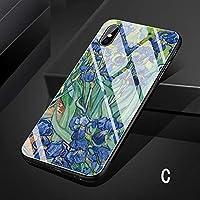 iPhone ⅩS Maxケース iPhone XS Max ケース アイフォン テンエス マックス カバー Apple 6.5インチ スマホケース 背面カバー TPU ガラスケース 油絵風 はな C