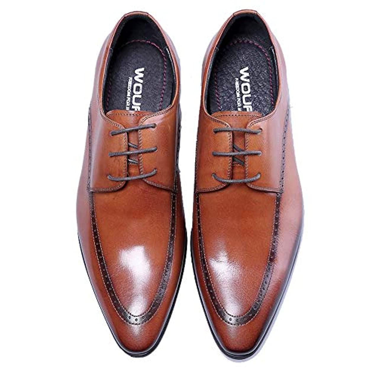 夏文明化オピエートビジネスシューズ レザー 本革 オックスフォード ロングノーズ レースアップ 通勤靴 スーツ ブラック ブラウン 2158-01