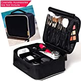 ROWNYEON Makeup Bag Portable Travel Makeup Bag Makeup Case Makeup Train Case 9.8'' (Mini, White Edge)
