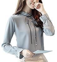 TAOHUA レディース ブラウス 長袖 春 夏 秋 シフォン スタンドカラー フリル シャツ 女性 ファッション (M, ブルー)