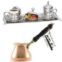 シルクロードトレード 11ピース エスプレッソ/トルコ ギリシャ アラビア語シルバー プレミアムコーヒーフルセット 2人用 // ACCシリーズ ハンマー銅製コーヒーポット、セブ、木製のハンドル付き