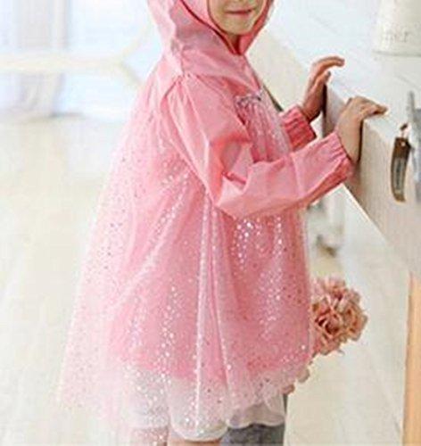 YUSASA(ユササ)キッズレインポンチョ女の子レインコートキッズレインコートプリンセス風レース付きポンチョレインウェア合羽雨具登園保育園幼稚園自転車雨の日にもプリンセスピンクブルー(140cm,ピンク)