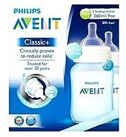 フィリップスAvent青版の古典+ 2哺乳瓶の1メートル+ 260ミリリットル (Avent) (x2) - Philips Avent Blue Edition Classic+ 2 Feeding Bottles 1m+260ml (Pack of 2) [並行輸入品]