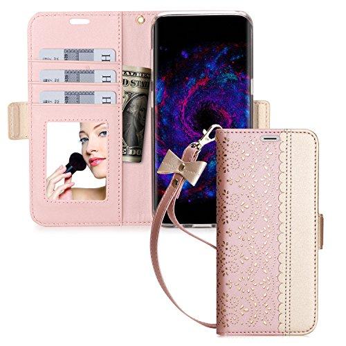 Samsung Galaxy S8 ケース galaxy s8 ケース,WWW®[RFIDブロッキング] [透かし彫りの花 デザイン] 良質PUレザーケース 横開き 手帳型 カード入れ ストラップ付き 化粧鏡 スタンド機能 マグネット開閉 ローズゴールド