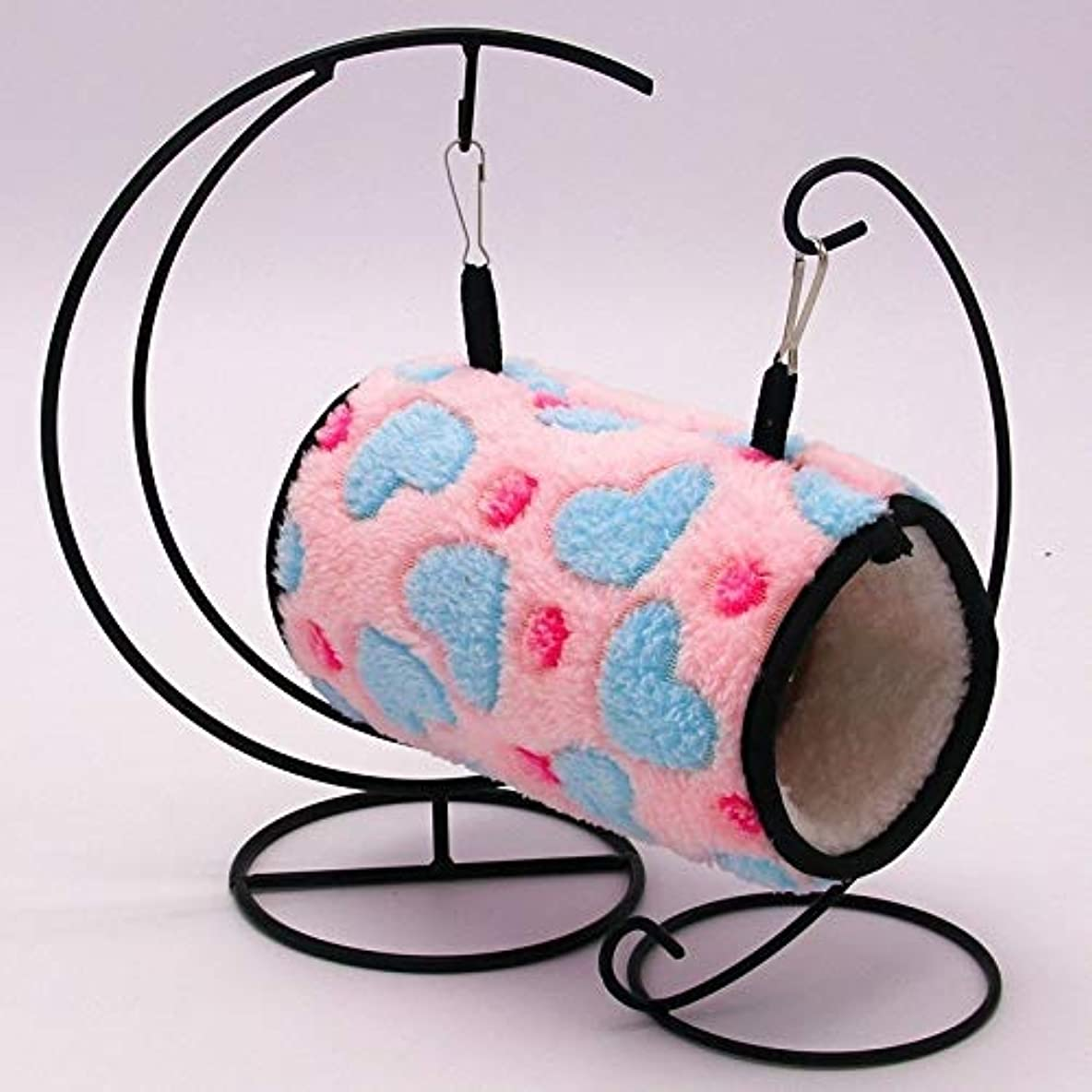 カリング能力会うKFAN猫と犬のペットベッド、 小さなペットのオウムハムスタートンネル巣厚く暖かい綿の巣 (色 : ピンク)