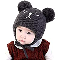 Ylucky Toddler Baby Winter Beanie Hat Hood Girls Boys Cute Bear Knit Cap with Earflap Infant Cable Knit Pom Caps